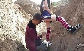 Fuck the Chinese country girl outside