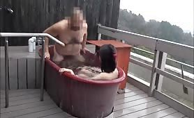 Asian wife blowjob in the hot tub