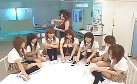 Japanese schoolgirl fellatio and cum swapping contest