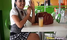 Hot Filipina office girl chased down by horny tourist for sordid hotel sex