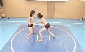 Topless Japanese girls semen battle